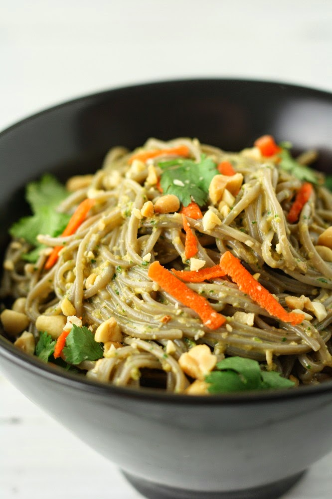 cold buckwheat soba noodle salad