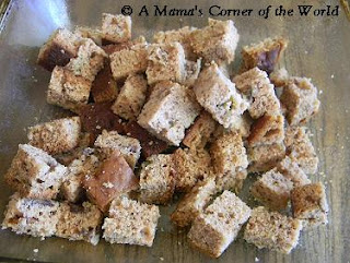 Banana bread cubes for banana bread pudding recipe