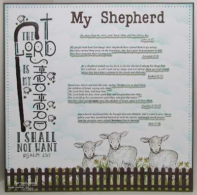 ODBD My Shepherd, ODBD The Shepherd, ODBD Custom Fence Die, ODBD Custom Clouds and Raindrops Dies, Journal Page designed by Angie Crockett