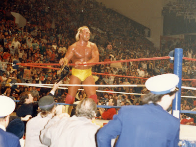 Hulk Hogan is given his WWF Championship back after losing a wrestling match at Maple Leaf Gardens in Toronto on December 28, 1986.