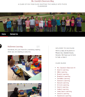 Screen shot of Mrs. Cassidy's homepage for her classroom blog.