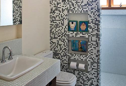 REFORMA É TUDO DE BOMLENEKARMO Banheiro Preto e Branco,Vermelho,Verde,C -> Pia De Banheiro Feita Com Tijolo De Vidro
