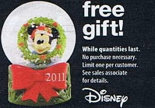 Free 2011 Disney Snow Globe at JCPenney on Black Friday 11/25