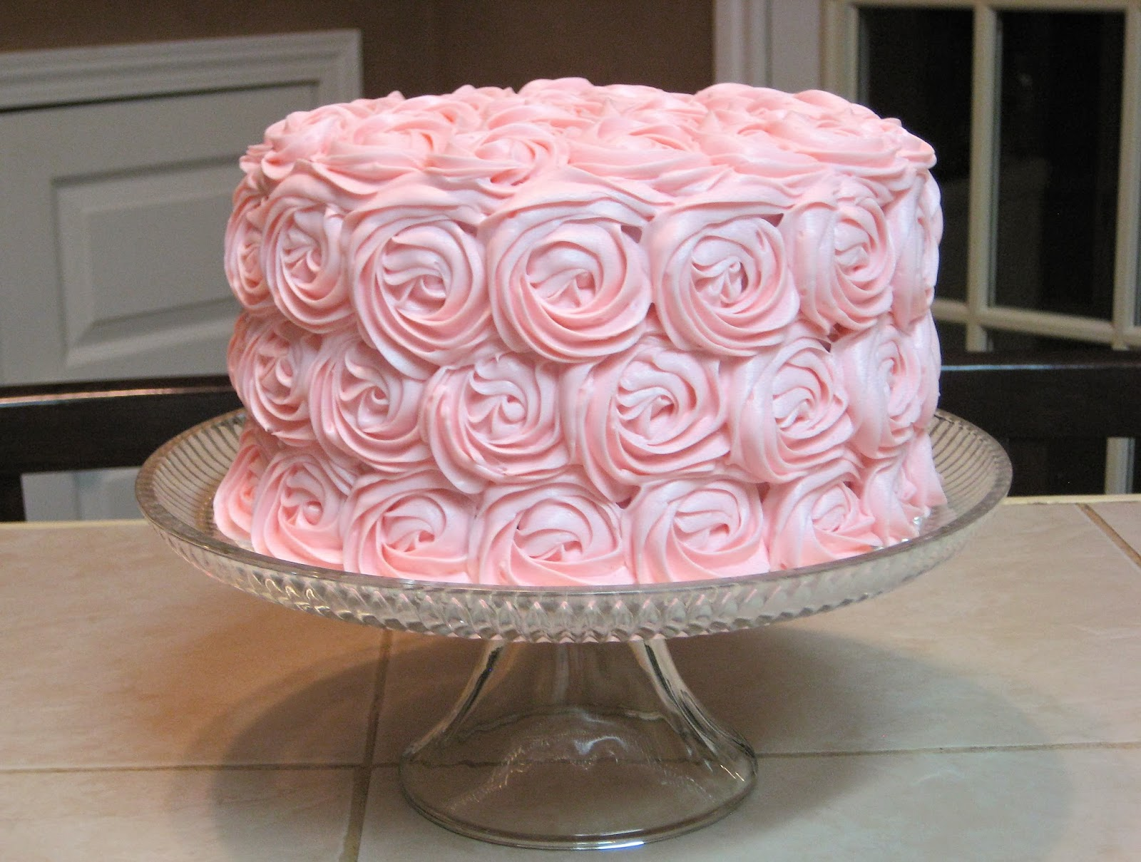 Shabby Chic Baby Shower Pink Rose Cake 2