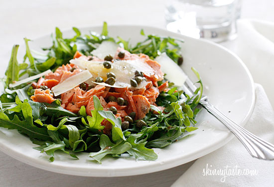 Arugula Salmon Salad with Capers and Shaved Parmesan ...