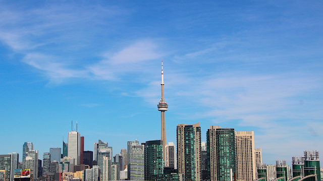 View of Toronto's CN Tower from BMO Field