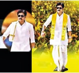 A morphed picture of pawan sporting yellow kanduva going viral in social media