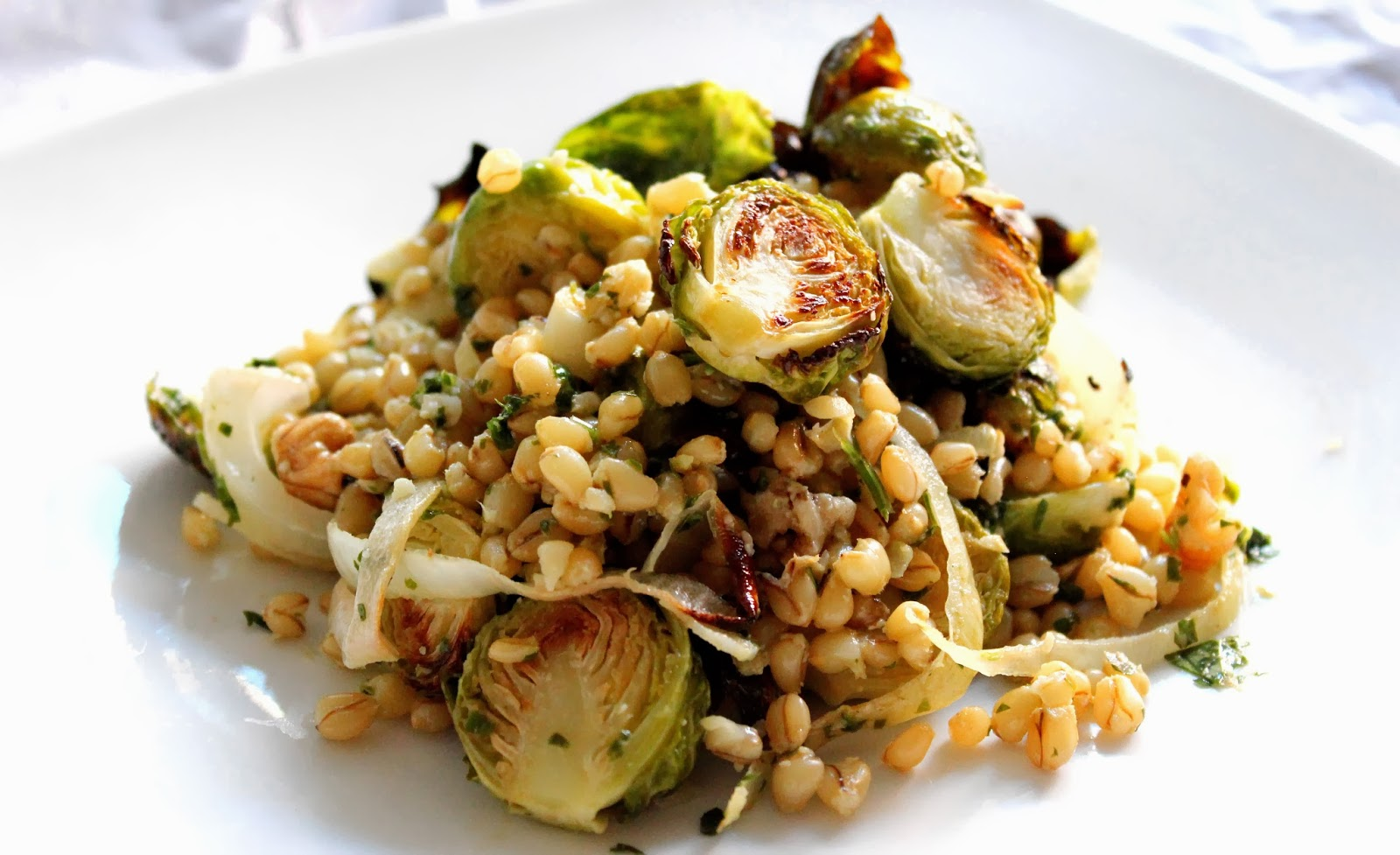 ... Roasted Brussel Sprouts & Wheatberries with a Parsley-Walnut-Lemon Oil