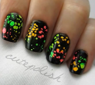 water spotted nails style for girls