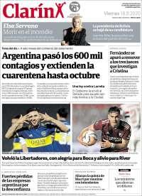 18/09/2020   ARGENTINA  UNA  PRIMERA PÁGINA DE LA PRENSA