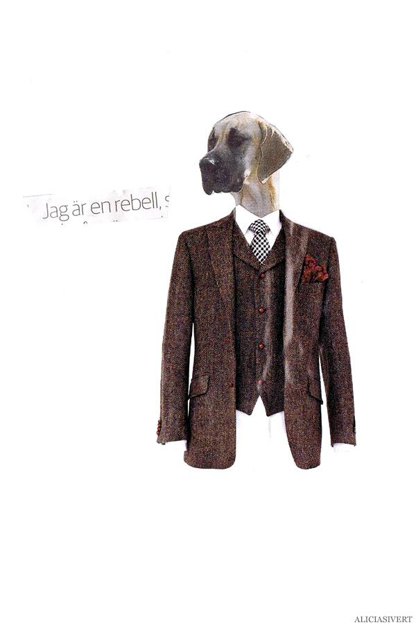 aliciasivert, alicia sivertsson, collage, kollage, assemblage, klippa och klistra, tidningsurklipp, jag är en rebell, hund, tweed, dog, kostym