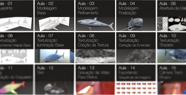 Conteúdo de Curso Tubarão - Aprenda a criar seu personagem digital.