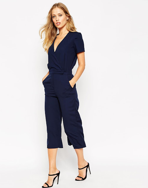 short leg jumpsuit, navy wrap jumpsuit,