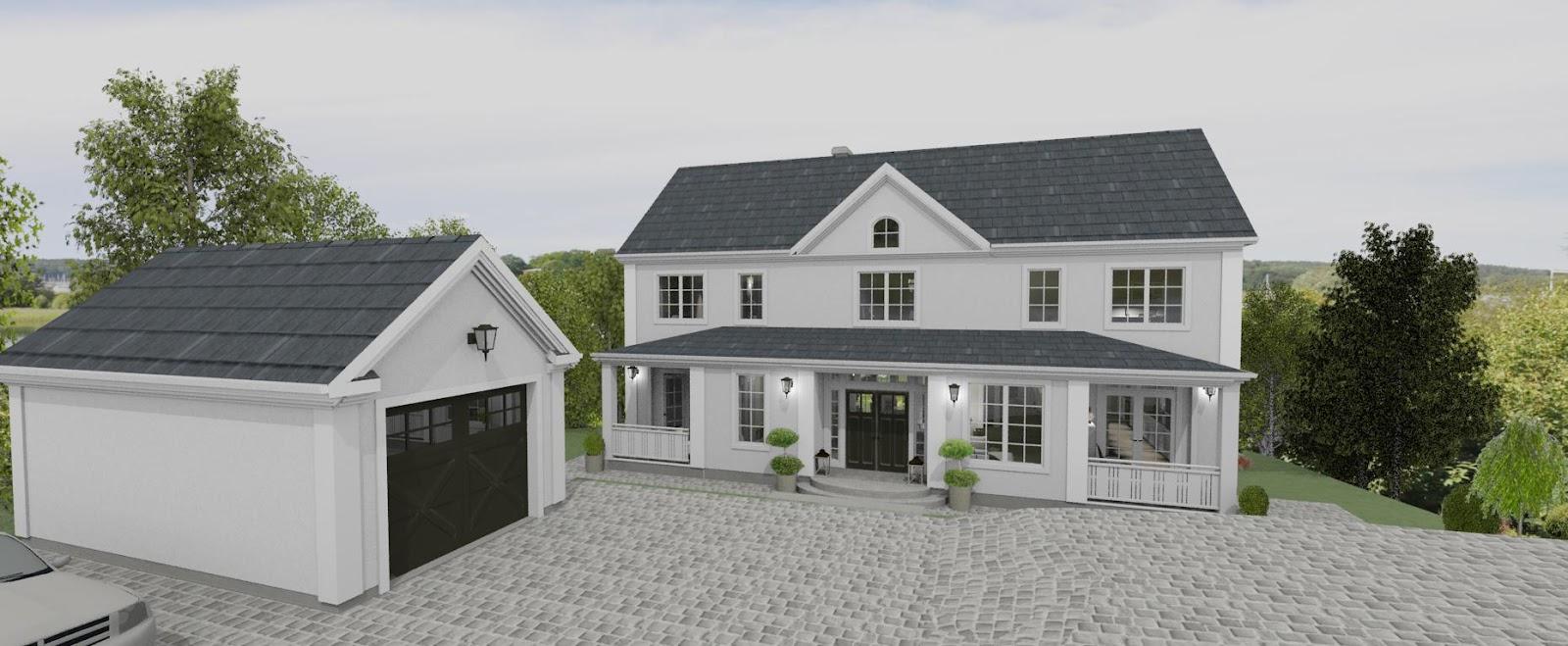 hus med garage i botten