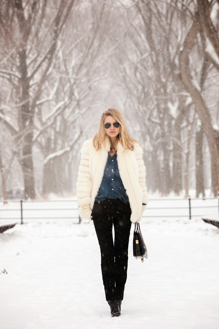 Central Park NYC, Wintertime, snowflakes, fur coat, brocade pants, denim shirt, Ray-Ban aviators, Pour la Victoire patent leather boots