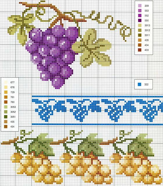 Схемы вышивки винограда крестиком 19