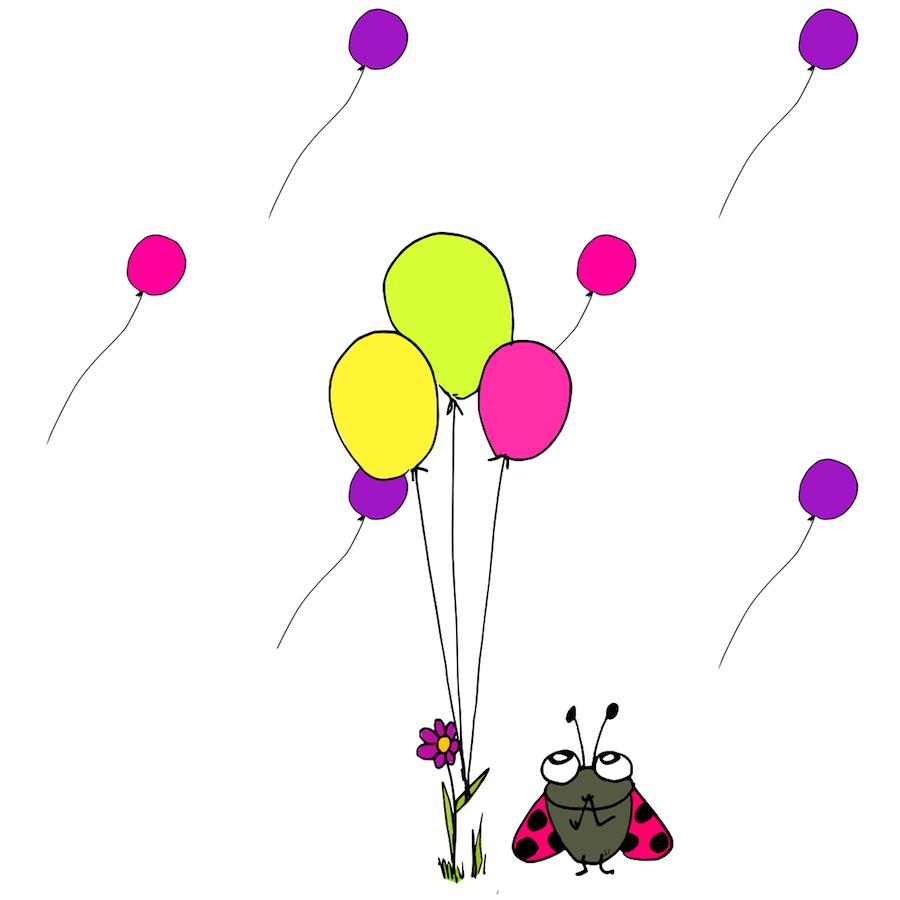 ladybug with balloons card