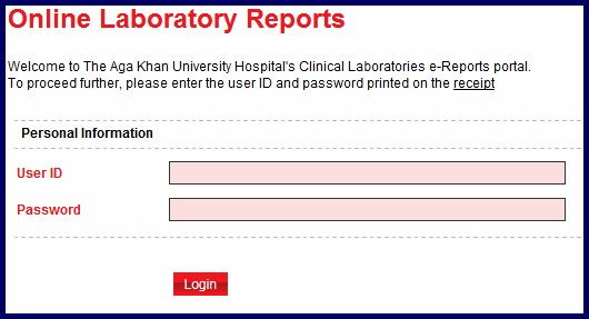 online lab reports default View the various reports of referral hospital lab departments including pathology,  microbiology, radiology, bio-chemistry patients should register himself first.