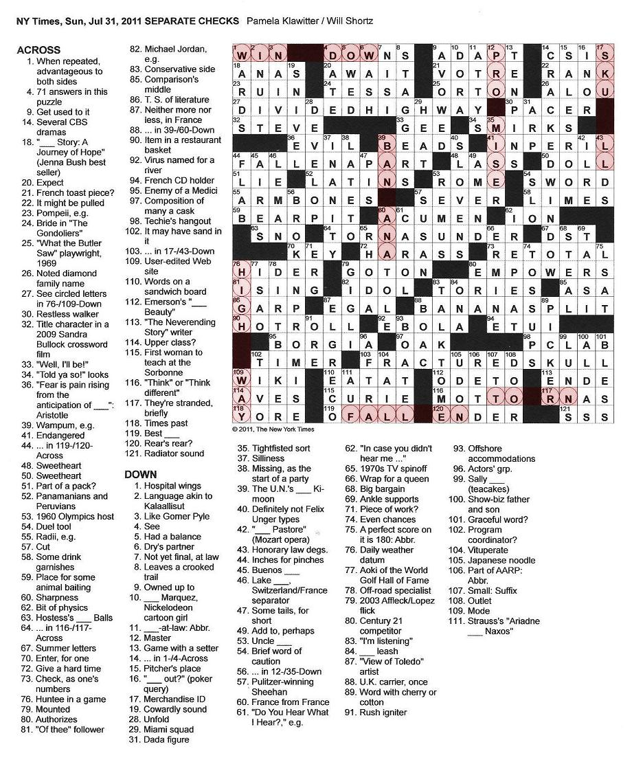 The New York Times Crossword In Gothic July 2011