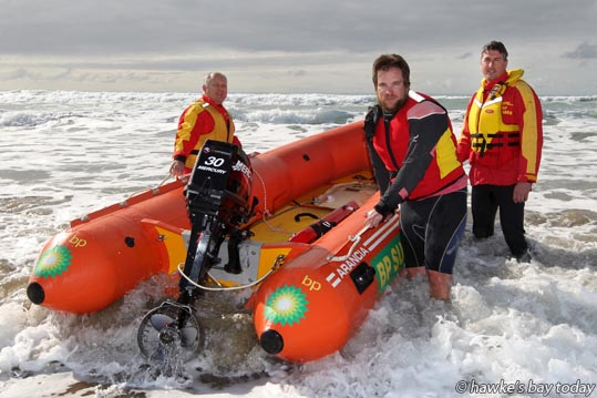 Kim Nilsson, Hastings, Michael Peterson, Napier, and James Laver, Waipawa, from the Waimarama Surf Lifesaving Club, out in their IRB, training for The 90 Mile Classic on 12 September. photograph