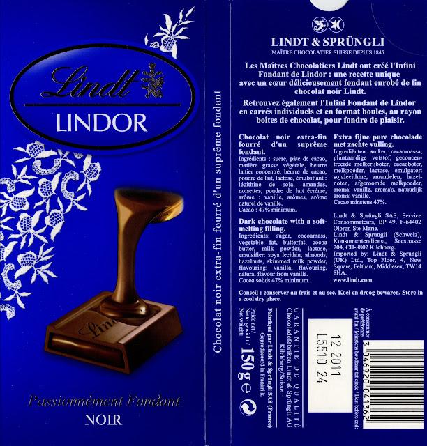 tablette de chocolat noir fourré lindt lindor noir