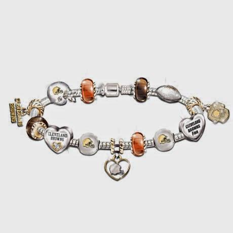 Cleveland Browns NFL Charm Bracelet with Swarovski Crystals