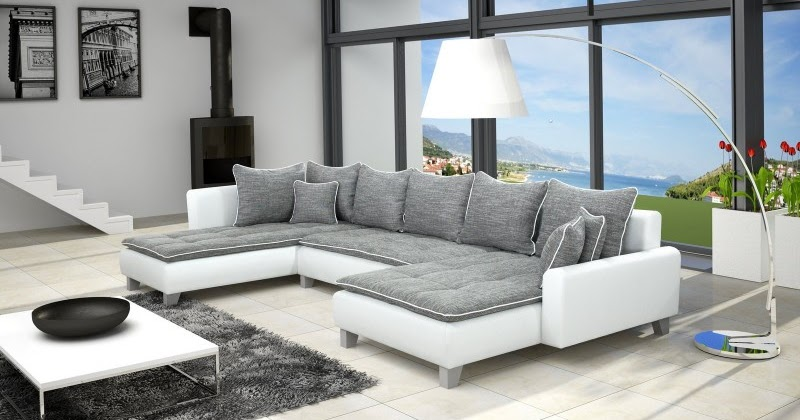 canap%25C3%25A9 d angle contemporain en simili cuir et tissu coloris gris et blanc  Résultat Supérieur 50 Inspirant Canapé D Angle Cuir Et Tissu Pic 2018 Iqt4