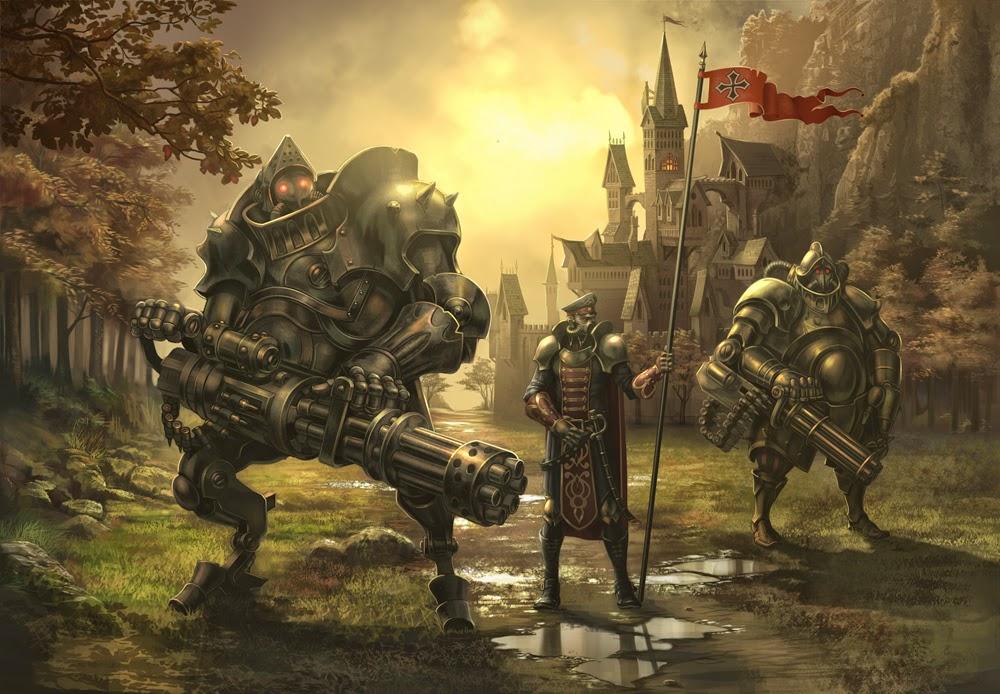 illustration de Alexander Shatohin représentant un lancier avec deux gardes du corps en armure avec gatling