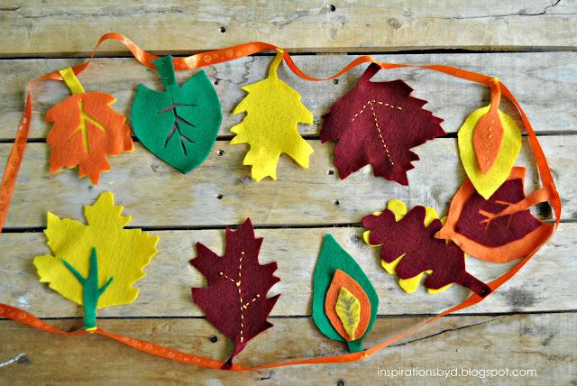 pottery barn knockoff felt leaf garland