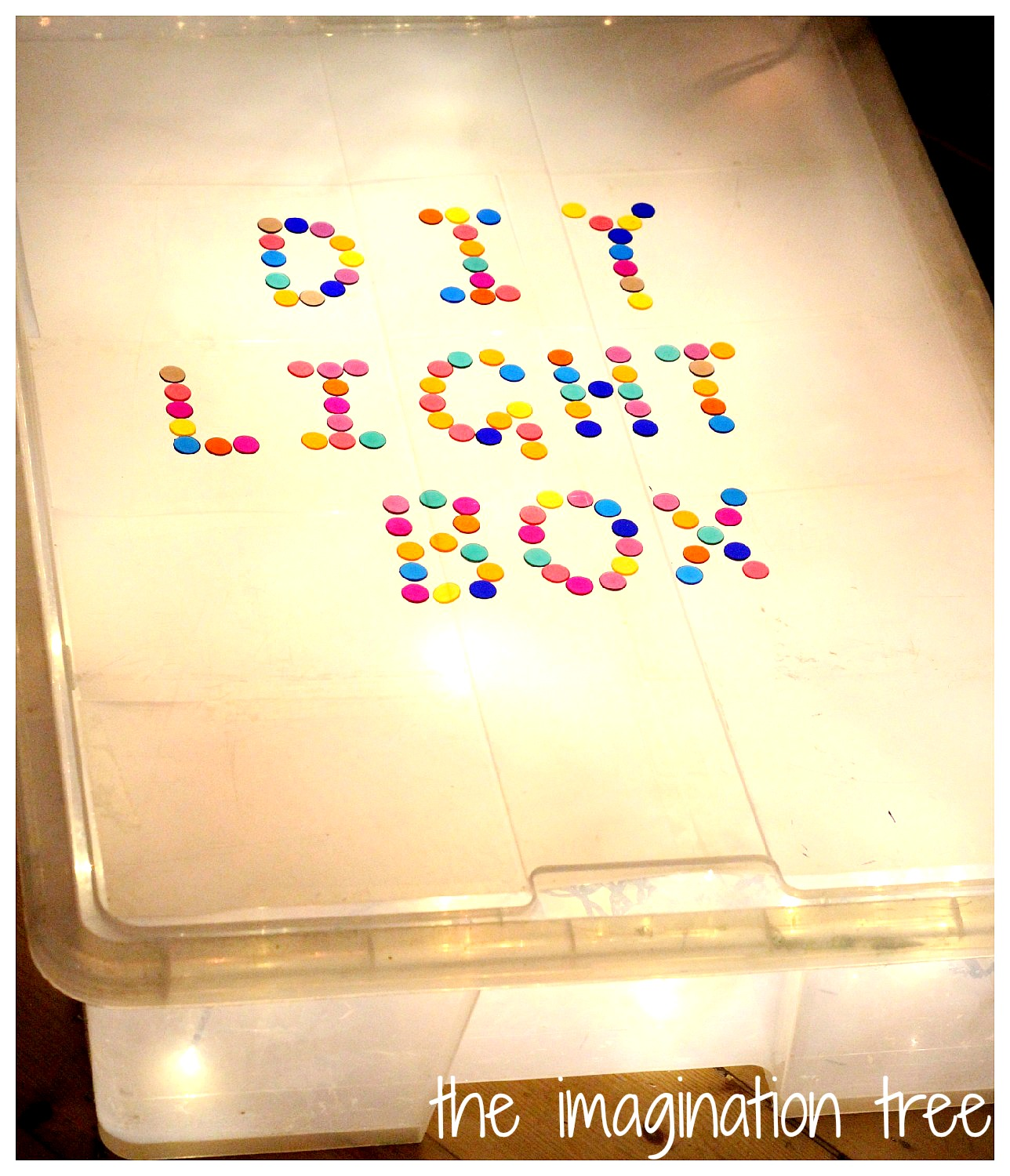 diy light box for sensory play the imagination tree. Black Bedroom Furniture Sets. Home Design Ideas