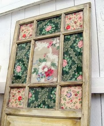 Vintage wallpaper old window art, by Mitzi's Miscellany, featured on http://www.ilovethatjunk.com