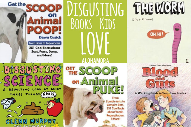Disgusting Book Kids Love.  5 Awesome non-fiction/true/real/informational books kids will love reading.  Great pictures, great writing, and all around a disgusting and gross book.  Boys and Girls alike will enjoy these books, but even the reluctant readers (especially boys) will love this book list. Alohamora Open a Book http://www.alohamoraopenabook.blogspot.com/
