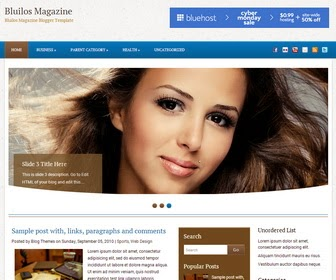 Bluilos Magazine is a Beautiful, 3 Columns Magazine Blogger Template. Bluilos Magazine Blogger Template has a jQuery Slider, Dropdown Menus, 468x60 Header Banner, Related Posts, Social Buttons and More Features