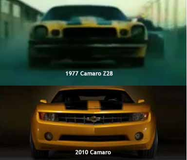 Transformers Bumblebee updates from 1977 Z28 to a 2010 Chevy