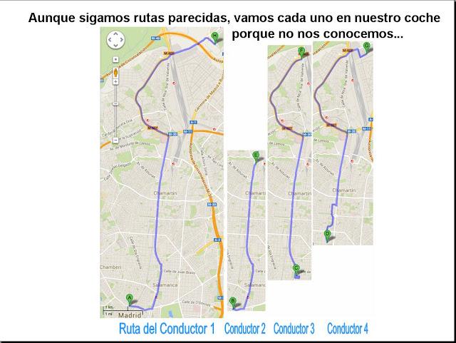 Varias personas siguen rutas parecidas, pero cada uno en su propio coche.