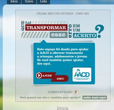 Imagem: Reprodução do erro 404 personalizado em Blog