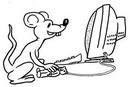 hình ảnh Chuột ngồi với máy tính