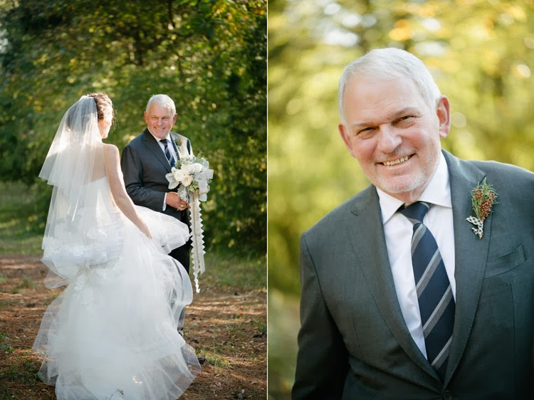 father of the bride glowing with excitement as he prepares to walk bride down the aisle