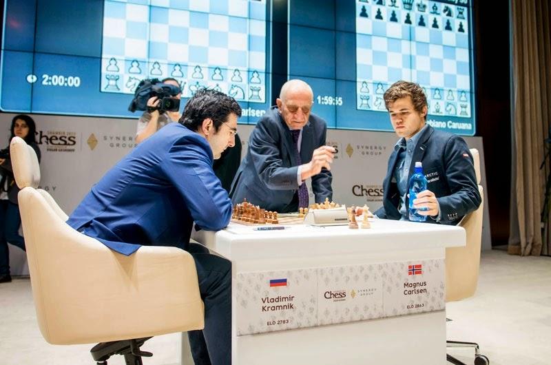 Magnus Carlsen impitoyable face à  Vladimir Kramnik au Mémorial Vugar Gashimov - Photo � Shamkir Chess Tournament 2015