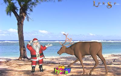 Le Père Noël avec ses rennes sur la plage de l'Hermitage, île de la Réunion