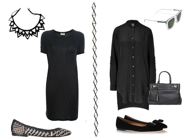 two black dresses with silver metallic accessories