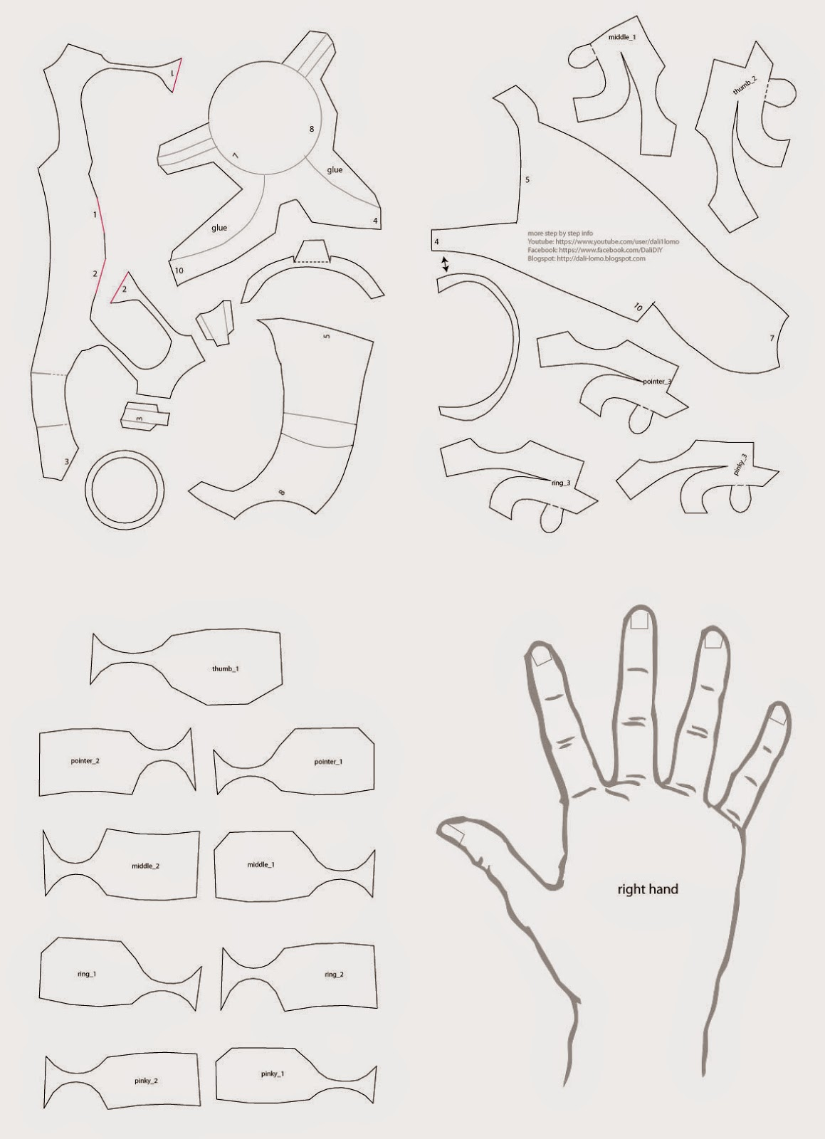 Dali lomo iron man hand diy with cereal box free pdf for Iron man suit template