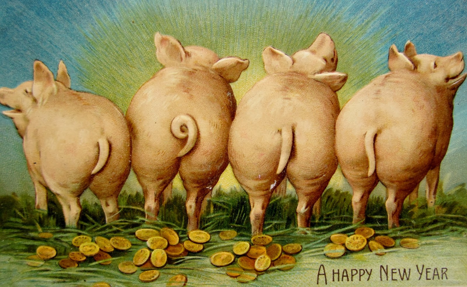 New Year Pig Postcards