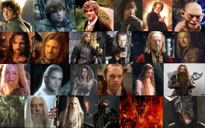 Les personnages de tolkien