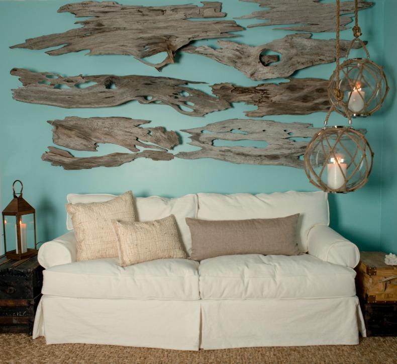 Aqua walls, driftoowd, white slipcover sofa