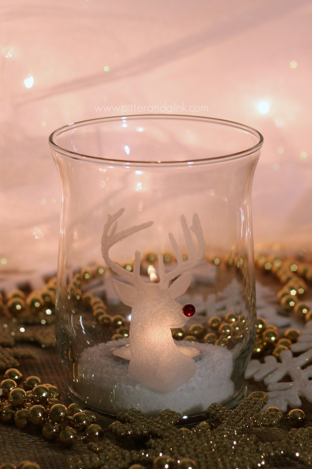 Rudolph Engraved Glass Candle Holder with the Dremel Micro pitterandglink.com