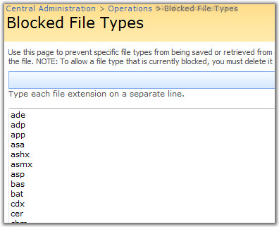 remove blocked file types sharepoint