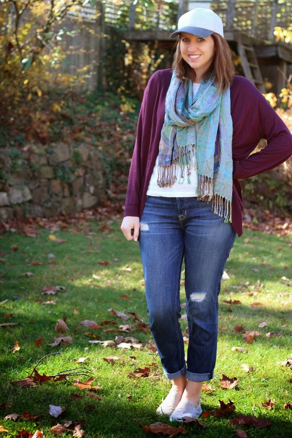fall outfit, baseball hat, layers, hudson jeans