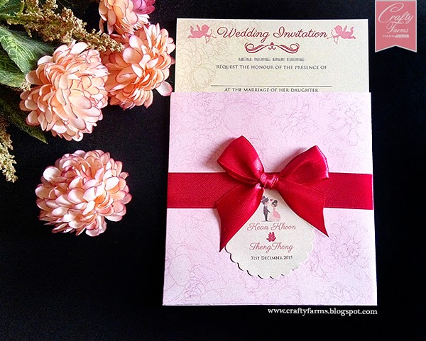 Chinese Wedding Card with Pocket and ribbon. MH Hotel, Ipoh
