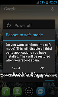 boot into safe mode alcatel star idol